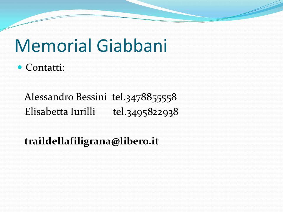 Memorial Giabbani Contatti: Alessandro Bessini tel.3478855558 Elisabetta Iurilli tel.3495822938 traildellafiligrana@libero.it