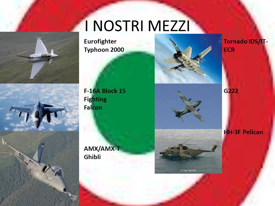 I NOSTRI MEZZI Eurofighter Typhoon 2000 F-16A Block 15 Fighting Falcon AMX/AMX-T Ghibli Tornado IDS/IT- ECR G222 HH-3F Pelican