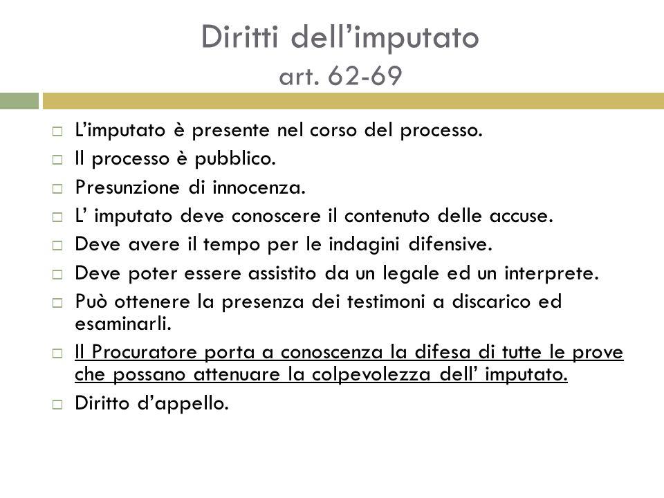 Diritti dell'imputato art. 62-69  L'imputato è presente nel corso del processo.