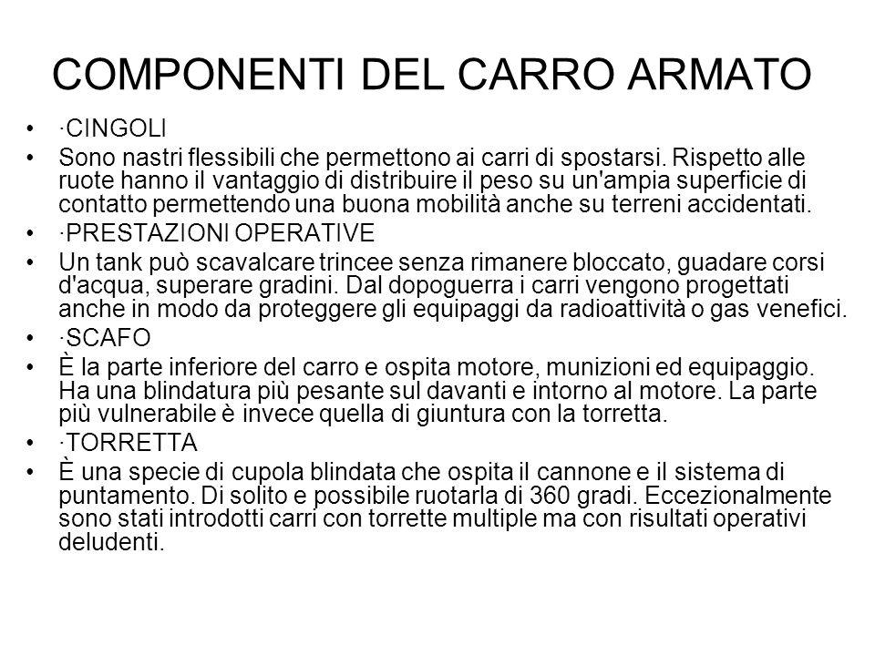 COMPONENTI DEL CARRO ARMATO ·CINGOLI Sono nastri flessibili che permettono ai carri di spostarsi. Rispetto alle ruote hanno il vantaggio di distribuir