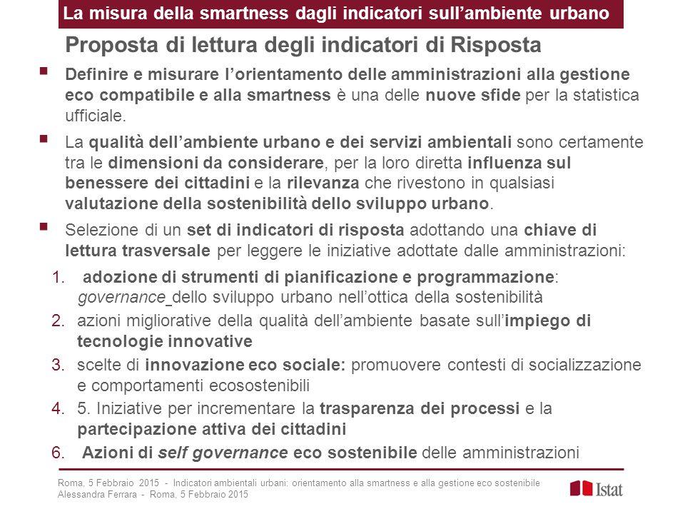 Proposta di lettura degli indicatori di Risposta  Definire e misurare l'orientamento delle amministrazioni alla gestione eco compatibile e alla smart