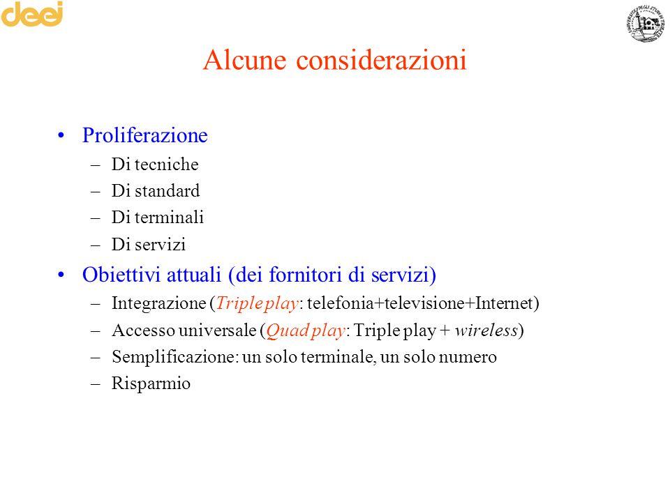Alcune considerazioni Proliferazione –Di tecniche –Di standard –Di terminali –Di servizi Obiettivi attuali (dei fornitori di servizi) –Integrazione (T