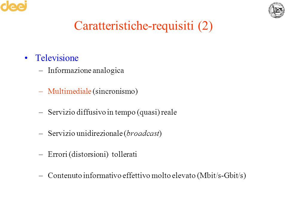 Caratteristiche-requisiti (2) Televisione –Informazione analogica –Multimediale (sincronismo) –Servizio diffusivo in tempo (quasi) reale –Servizio uni