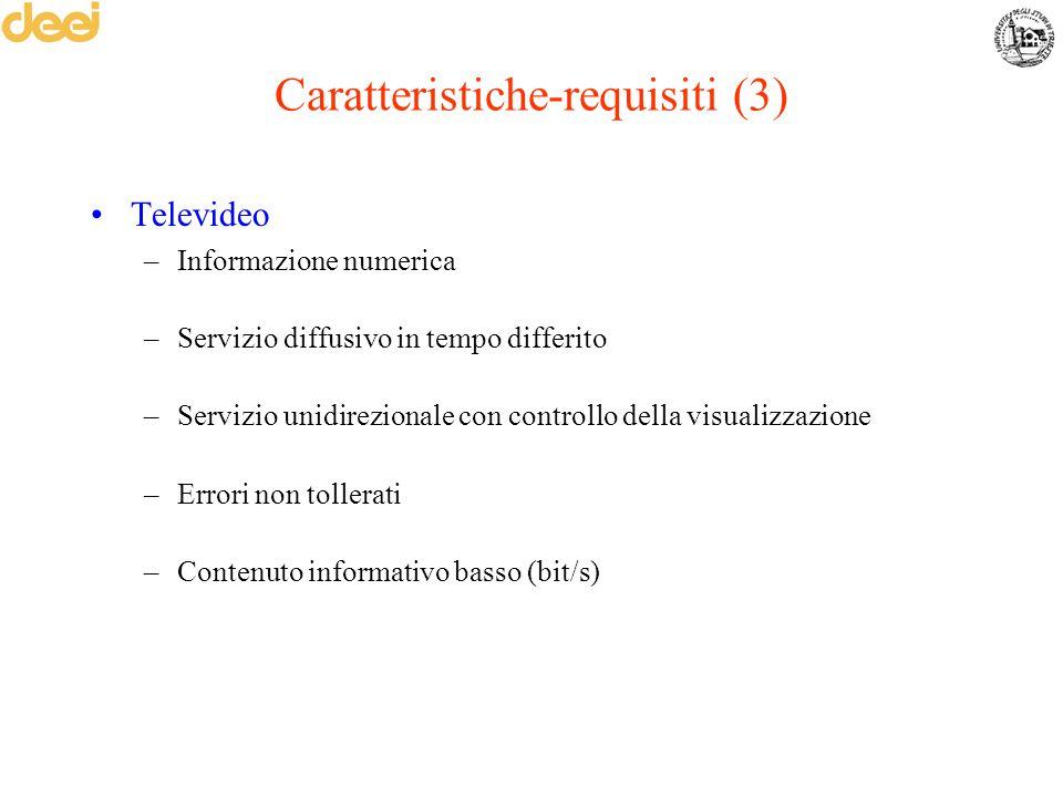 Caratteristiche-requisiti (3) Televideo –Informazione numerica –Servizio diffusivo in tempo differito –Servizio unidirezionale con controllo della vis