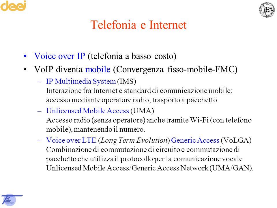 Telefonia e Internet Voice over IP (telefonia a basso costo) VoIP diventa mobile (Convergenza fisso-mobile-FMC) –IP Multimedia System (IMS) Interazion