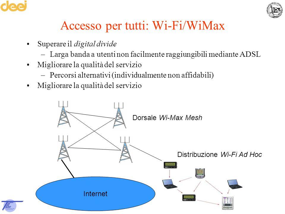 Accesso per tutti: Wi-Fi/WiMax Superare il digital divide –Larga banda a utenti non facilmente raggiungibili mediante ADSL Migliorare la qualità del s
