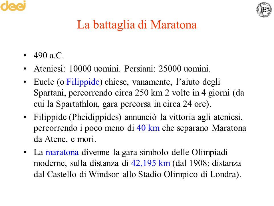 La battaglia di Maratona 490 a.C. Ateniesi: 10000 uomini. Persiani: 25000 uomini. Eucle (o Filippide) chiese, vanamente, l'aiuto degli Spartani, perco