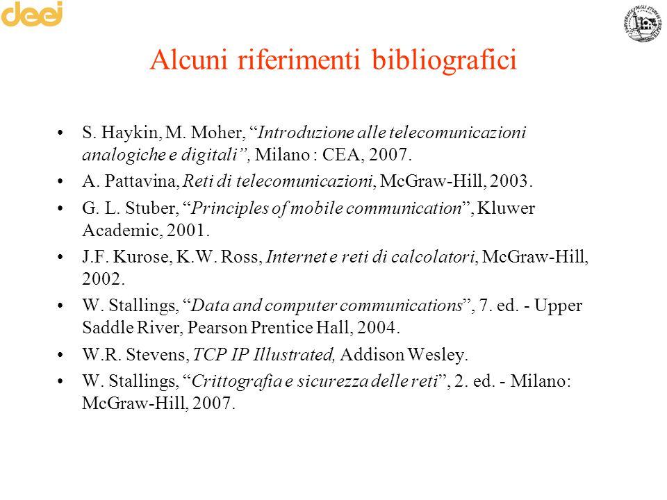 """Alcuni riferimenti bibliografici S. Haykin, M. Moher, """"Introduzione alle telecomunicazioni analogiche e digitali"""", Milano : CEA, 2007. A. Pattavina, R"""