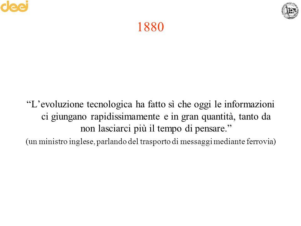 """1880 """"L'evoluzione tecnologica ha fatto sì che oggi le informazioni ci giungano rapidissimamente e in gran quantità, tanto da non lasciarci più il tem"""