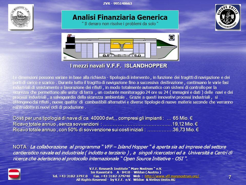 7 I mezzi navali V.F.F. ISLANDHOPPER Costi per una tipologia di nave di ca.