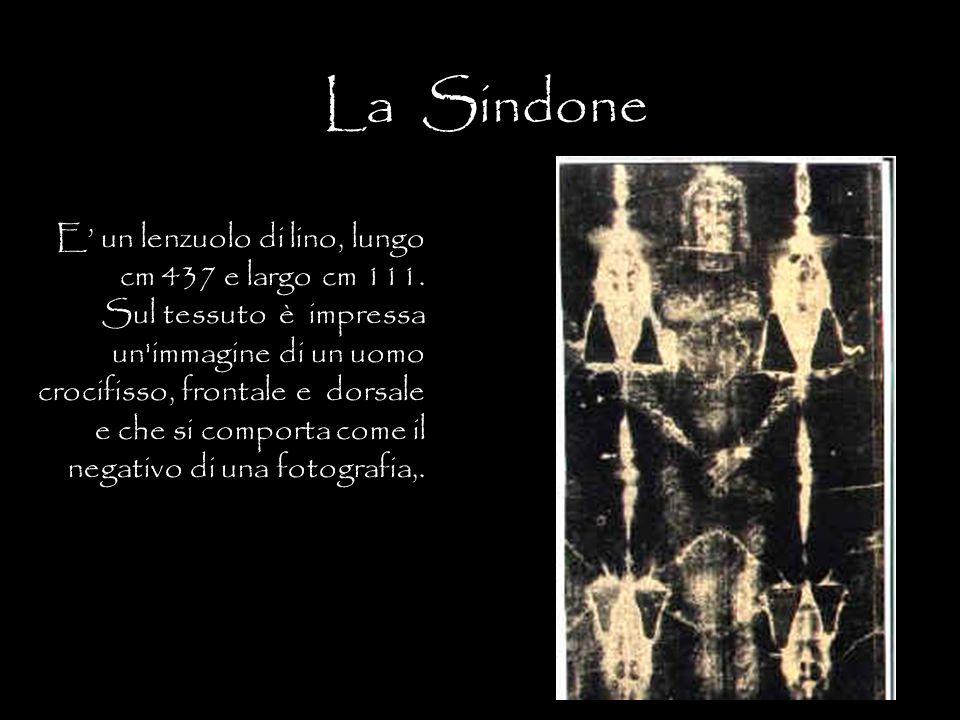 La Sindone E' un lenzuolo di lino, lungo cm 437 e largo cm 111. Sul tessuto è impressa un'immagine di un uomo crocifisso, frontale e dorsale e che si