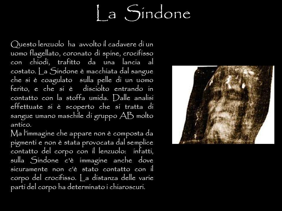 La Sindone E' stato dimostrato che l'immagine sul lenzuolo non è né un dipinto né una stampa perché non c'è traccia di pigmento.
