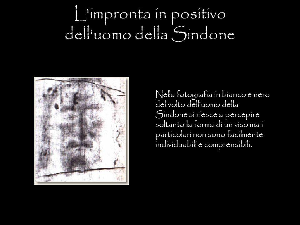 L'impronta in positivo dell'uomo della Sindone Nella fotografia in bianco e nero del volto dell'uomo della Sindone si riesce a percepire soltanto la f