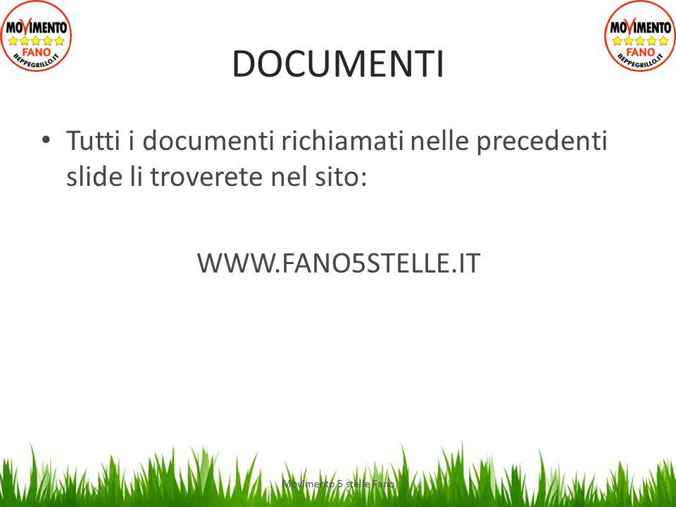 DOCUMENTI Tutti i documenti richiamati nelle precedenti slide li troverete nel sito: WWW.FANO5STELLE.IT Movimento 5 stelle Fano