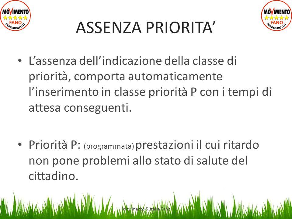 ASSENZA PRIORITA' L'assenza dell'indicazione della classe di priorità, comporta automaticamente l'inserimento in classe priorità P con i tempi di atte