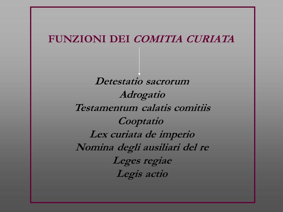 FUNZIONI DEI COMITIA CURIATA Detestatio sacrorum Adrogatio Testamentum calatis comitiis Cooptatio Lex curiata de imperio Nomina degli ausiliari del re Leges regiae Legis actio