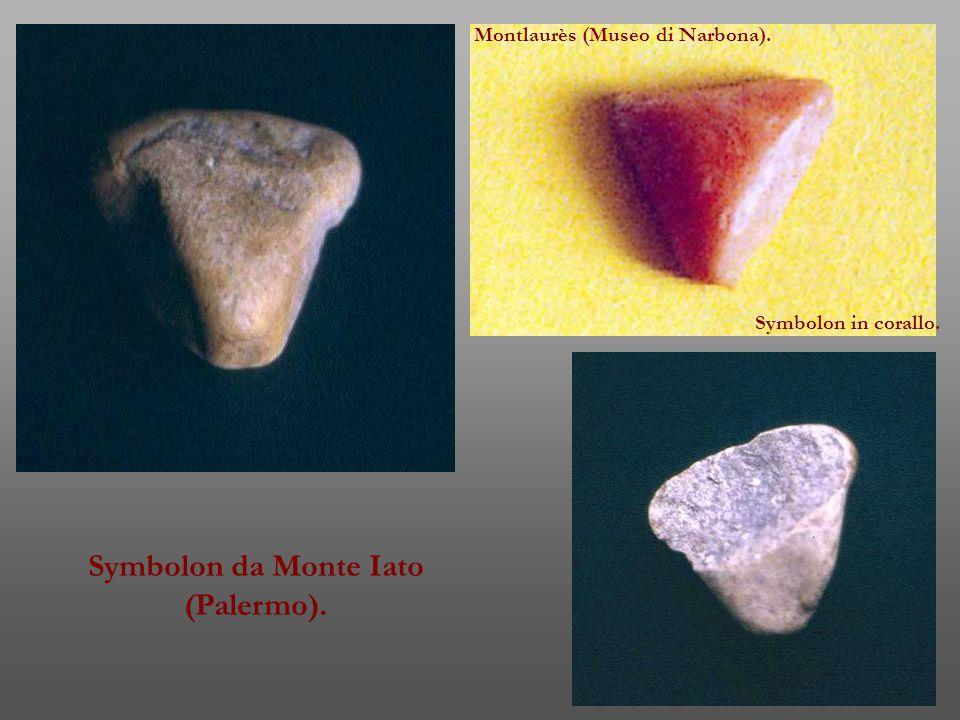 Symbolon da Monte Iato (Palermo). Montlaurès (Museo di Narbona). Symbolon in corallo.