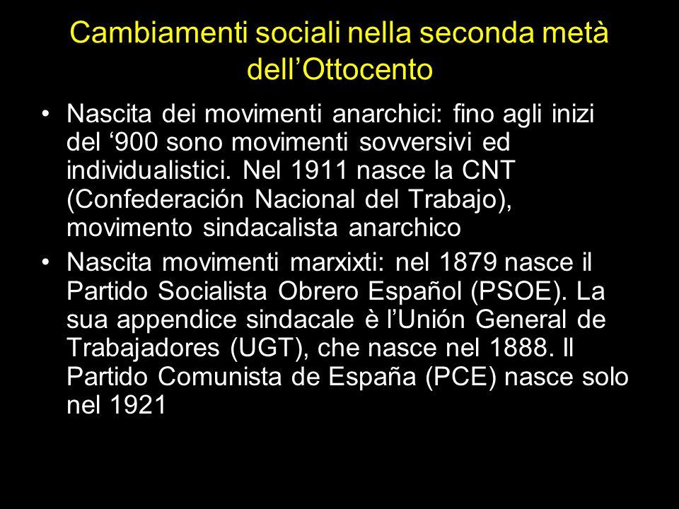 Cambiamenti sociali nella seconda metà dell'Ottocento Nascita dei movimenti anarchici: fino agli inizi del '900 sono movimenti sovversivi ed individua