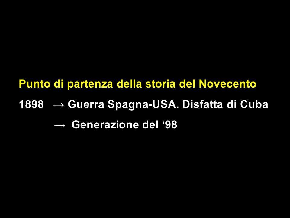 Punto di partenza della storia del Novecento 1898 → Guerra Spagna-USA. Disfatta di Cuba → Generazione del '98