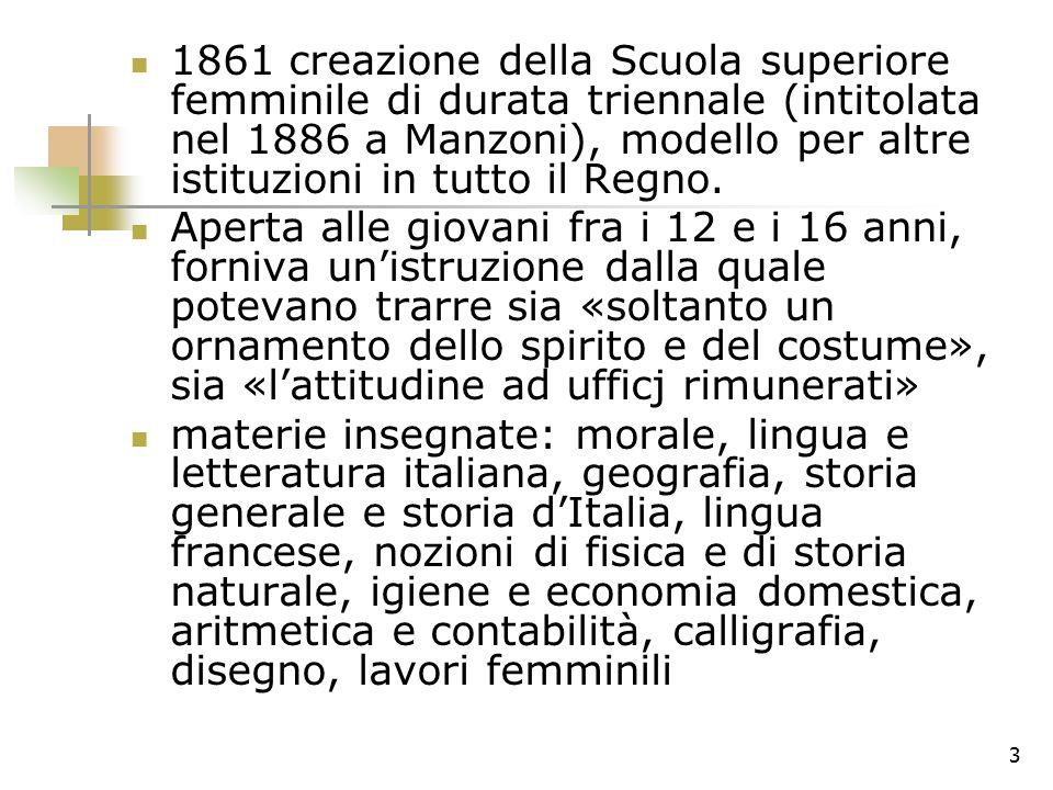 3 1861 creazione della Scuola superiore femminile di durata triennale (intitolata nel 1886 a Manzoni), modello per altre istituzioni in tutto il Regno.