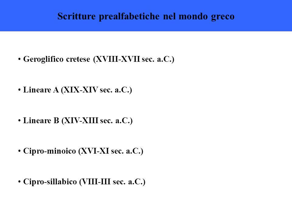Scritture prealfabetiche nel mondo greco Geroglifico cretese (XVIII-XVII sec.