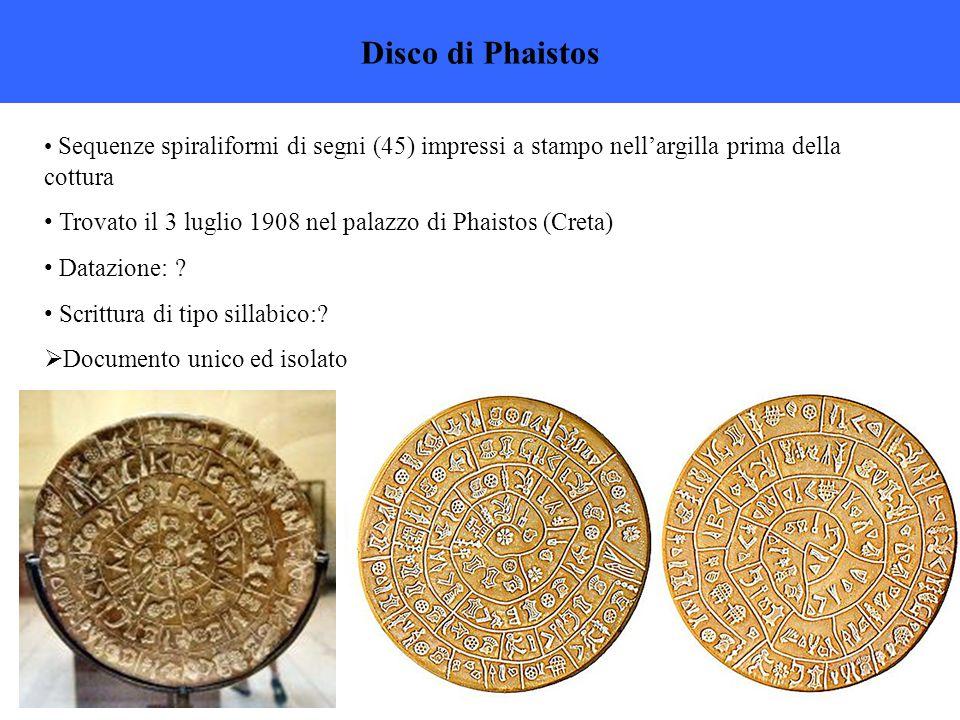 Disco di Phaistos Sequenze spiraliformi di segni (45) impressi a stampo nell'argilla prima della cottura Trovato il 3 luglio 1908 nel palazzo di Phaistos (Creta) Datazione: .