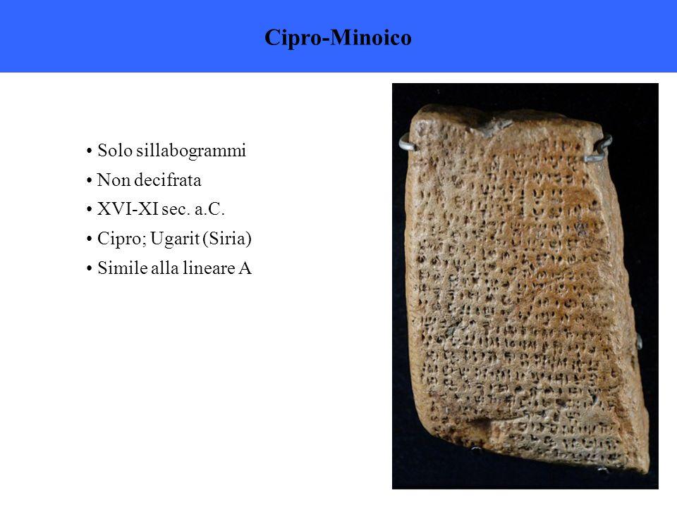 Cipro-Minoico Solo sillabogrammi Non decifrata XVI-XI sec.