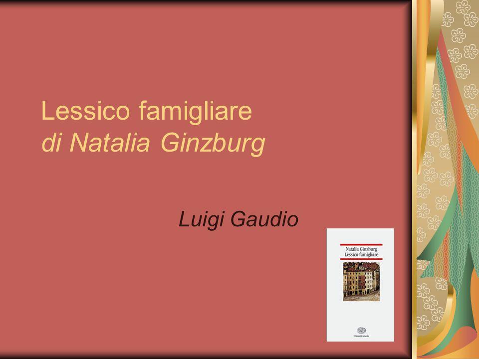 Natalia Ginzburg (1916-1991) Lessico famigliare è un romanzo del 1963, che riguarda la vita di Natalia dagli inizi degli anni venti agli inizi degli anni cinquanta.