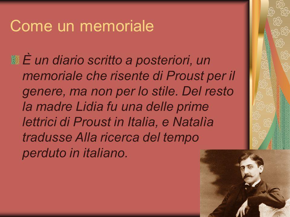 Come un memoriale Comunque, i fatti non sono narrati in ordine strettamente cronologico, ma seguono il flusso dei ricordi.