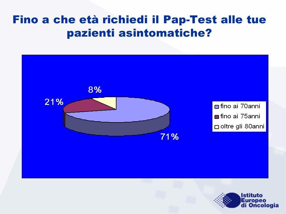Fino a che età richiedi il Pap-Test alle tue pazienti asintomatiche?