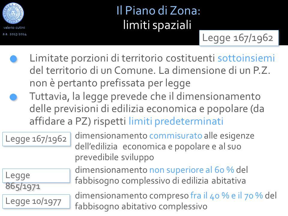 valerio cutini Il Piano di Zona: limiti spaziali a.a. 2013-2014 Legge 167/1962 Limitate porzioni di territorio costituenti sottoinsiemi del territorio