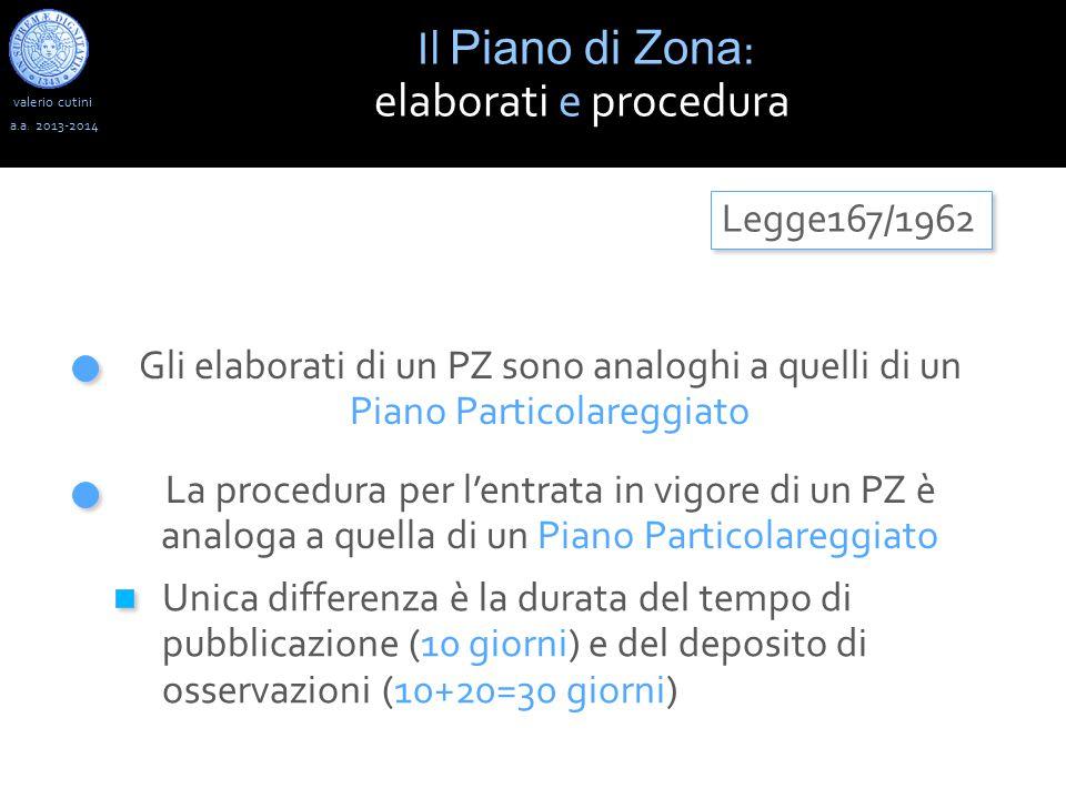 valerio cutini Il Piano di Zona : elaborati e procedura a.a. 2013-2014 Legge167/1962 Gli elaborati di un PZ sono analoghi a quelli di un Piano Partico