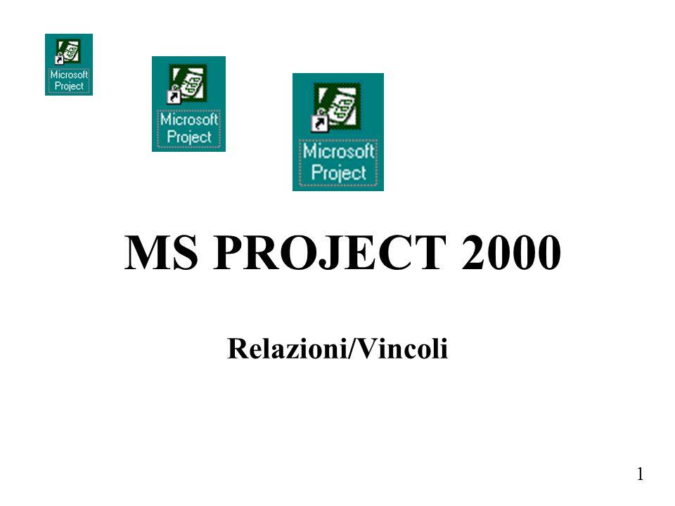 1 Relazioni/Vincoli MS PROJECT 2000