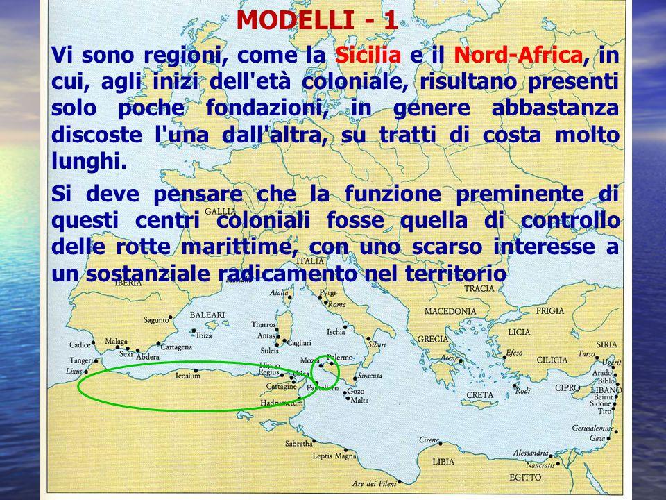 MODELLI - 1 Vi sono regioni, come la Sicilia e il Nord-Africa, in cui, agli inizi dell'età coloniale, risultano presenti solo poche fondazioni, in gen