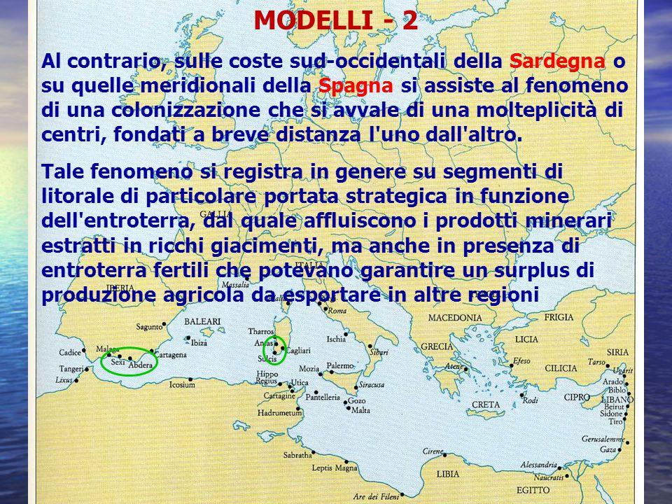 MODELLI - 2 Al contrario, sulle coste sud-occidentali della Sardegna o su quelle meridionali della Spagna si assiste al fenomeno di una colonizzazione che si avvale di una molteplicità di centri, fondati a breve distanza l uno dall altro.