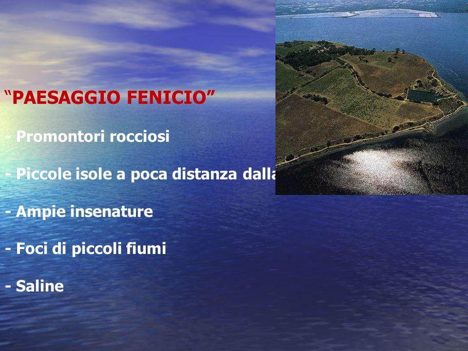 PAESAGGIO FENICIO - Promontori rocciosi - Piccole isole a poca distanza dalla costa - Ampie insenature - Foci di piccoli fiumi - Saline