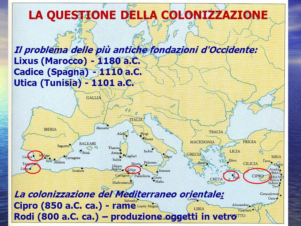 LA VERA E PROPRIA COLONIZZAZIONE DELLE COSTE DEL MEDITERRANEO OCCIDENTALE Cartagine (814 a.C.) (data tramandata dalle fonti, ma confermata dall archeologia) attorno al 775 a.C., il circuito commerciale dei Fenici si orienta in maniera decisamente diversa, con la creazione di punti di appoggio stabili in alcune località strategiche lungo le coste non è una fuga verso Occidente, infatti questa fase è antecedente di qualche decennio all inizio della vera e propria annessione assira dei territori fenici (750-700 a.C.)