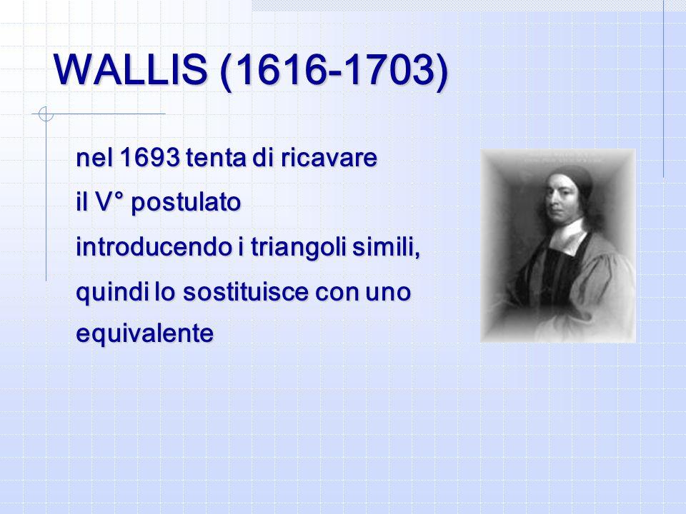 WALLIS (1616-1703) nel 1693 tenta di ricavare il V° postulato introducendo i triangoli simili, quindi lo sostituisce con uno equivalente