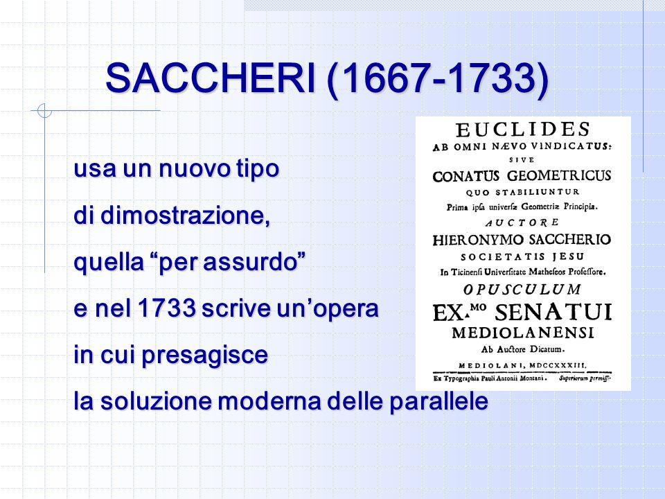 SACCHERI (1667-1733) usa un nuovo tipo di dimostrazione, quella per assurdo e nel 1733 scrive un'opera in cui presagisce la soluzione moderna delle parallele
