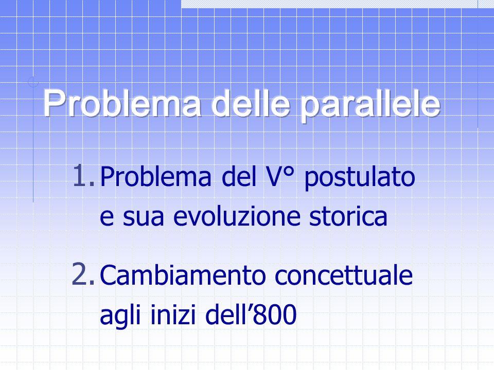 1. Problema del V° postulato e sua evoluzione storica 2. Cambiamento concettuale agli inizi dell'800