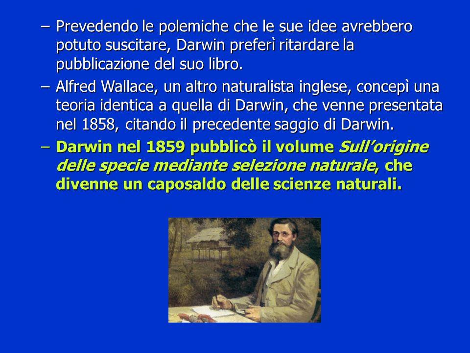 –Prevedendo le polemiche che le sue idee avrebbero potuto suscitare, Darwin preferì ritardare la pubblicazione del suo libro. –Alfred Wallace, un altr