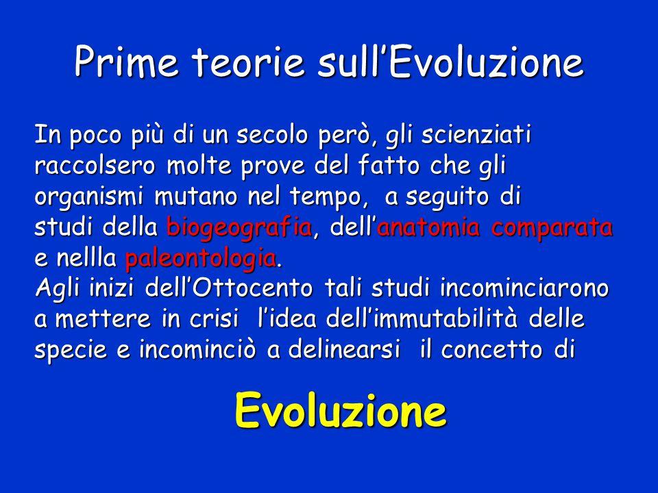 Prime teorie sull'Evoluzione In poco più di un secolo però, gli scienziati raccolsero molte prove del fatto che gli organismi mutano nel tempo, a segu