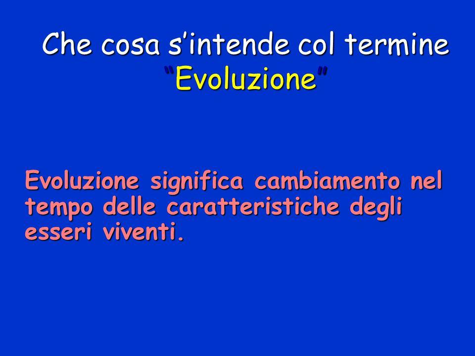 """Evoluzione significa cambiamento nel tempo delle caratteristiche degli esseri viventi. Che cosa s'intende col termine """"Evoluzione"""""""