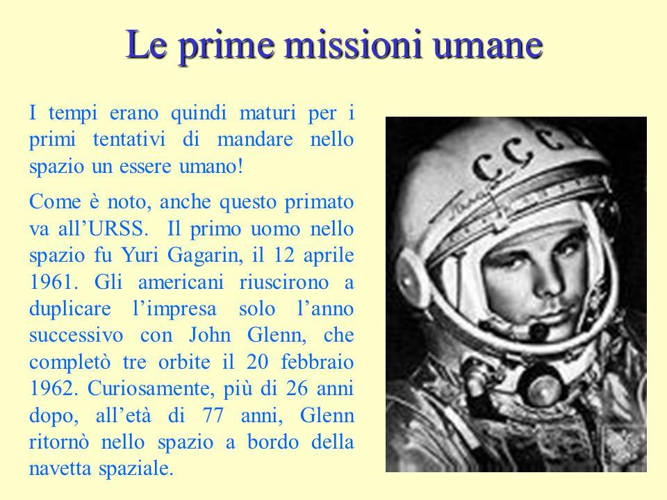 Le prime missioni umane I tempi erano quindi maturi per i primi tentativi di mandare nello spazio un essere umano! Come è noto, anche questo primato v