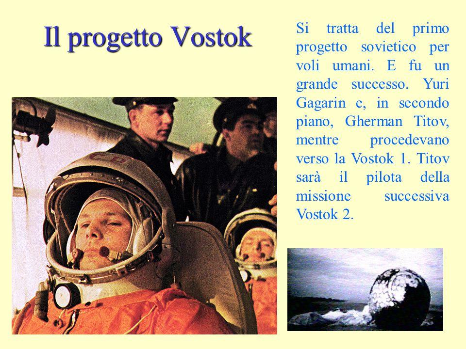 Il progetto Vostok Si tratta del primo progetto sovietico per voli umani. E fu un grande successo. Yuri Gagarin e, in secondo piano, Gherman Titov, me