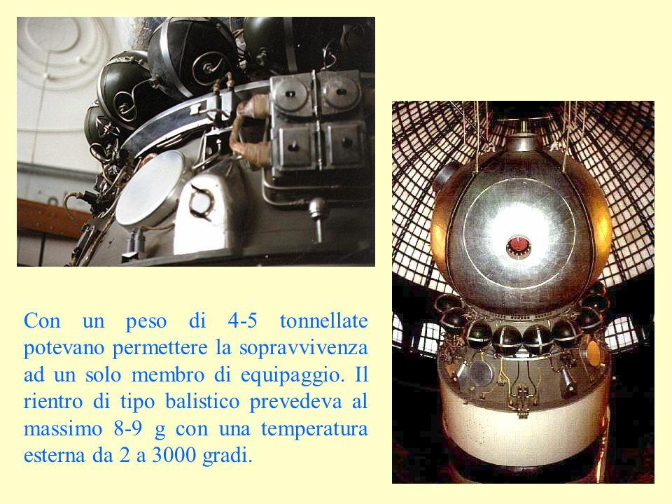 Con un peso di 4-5 tonnellate potevano permettere la sopravvivenza ad un solo membro di equipaggio. Il rientro di tipo balistico prevedeva al massimo