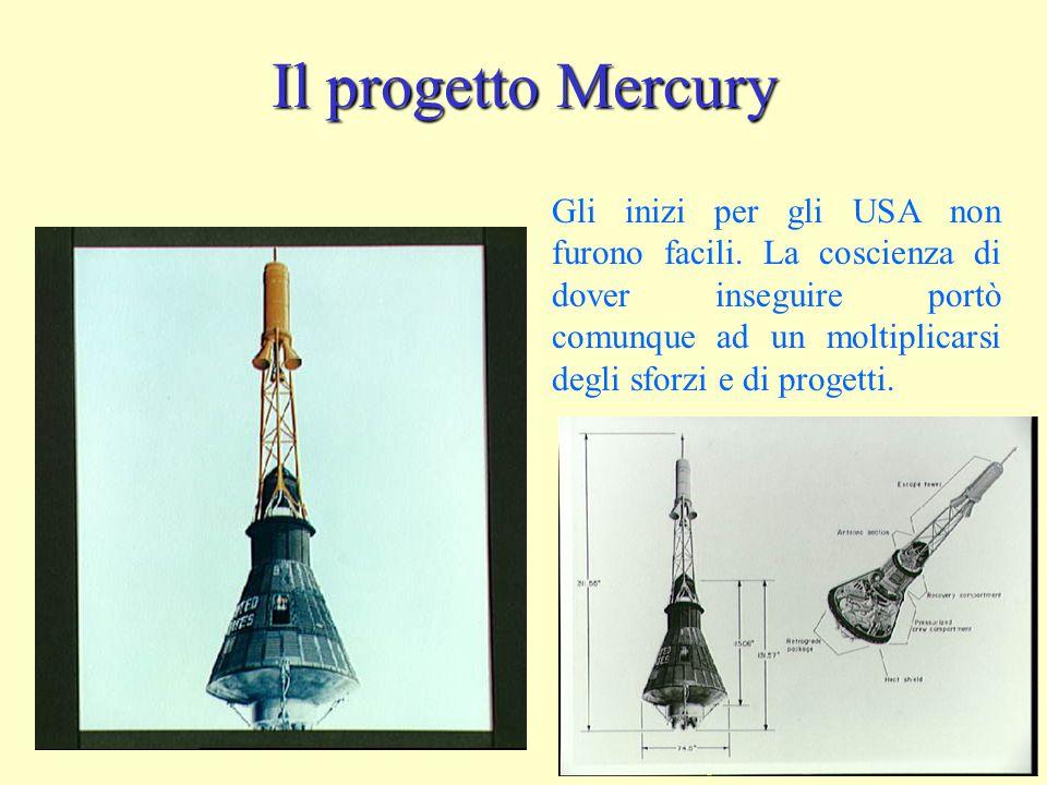 Il progetto Mercury Gli inizi per gli USA non furono facili. La coscienza di dover inseguire portò comunque ad un moltiplicarsi degli sforzi e di prog