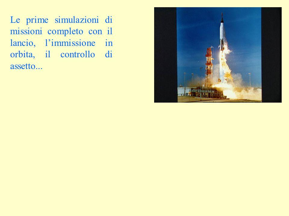 Le prime simulazioni di missioni completo con il lancio, l'immissione in orbita, il controllo di assetto...