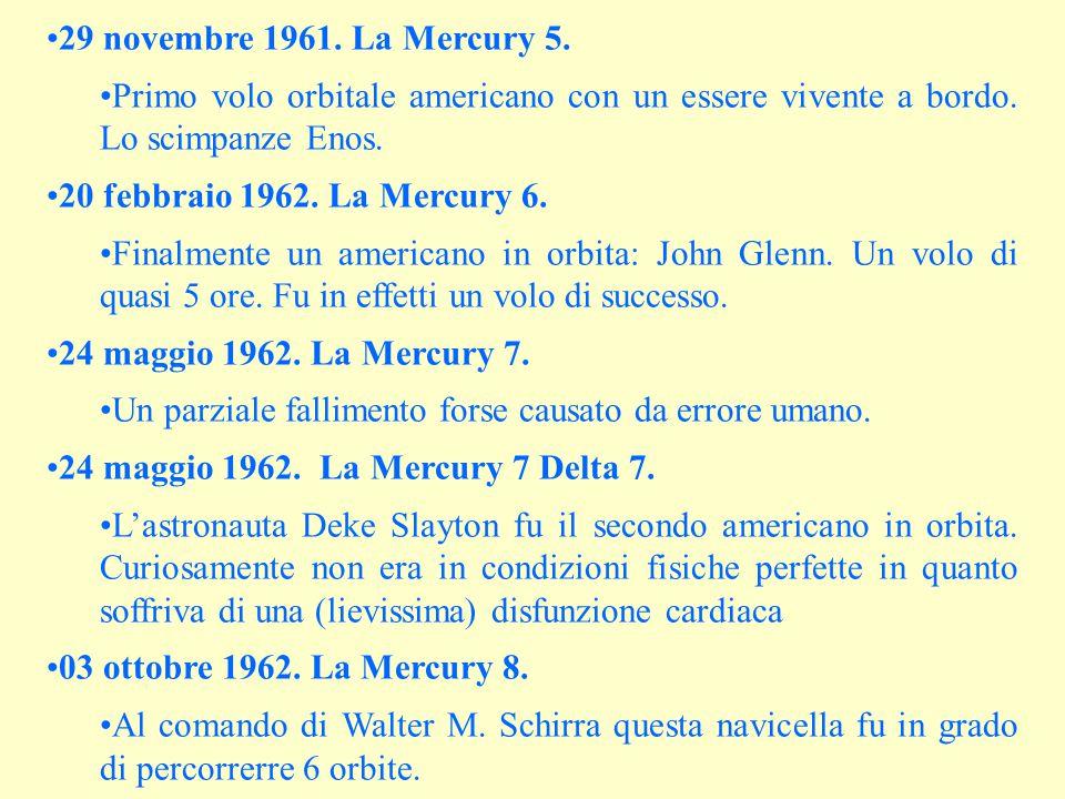 29 novembre 1961. La Mercury 5. Primo volo orbitale americano con un essere vivente a bordo. Lo scimpanze Enos. 20 febbraio 1962. La Mercury 6. Finalm