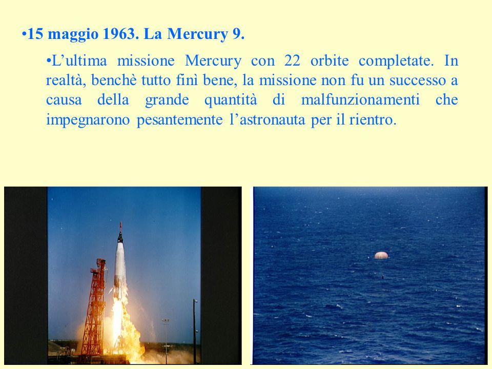 15 maggio 1963. La Mercury 9. L'ultima missione Mercury con 22 orbite completate. In realtà, benchè tutto finì bene, la missione non fu un successo a